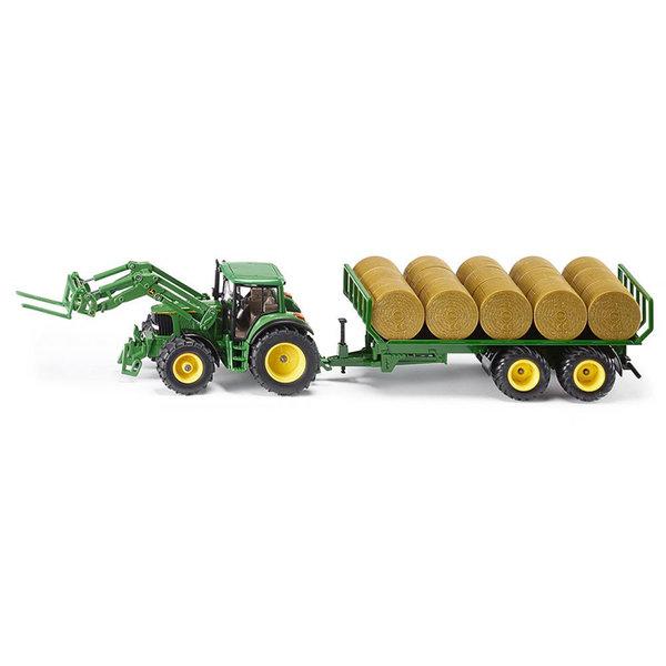 Трактор с ремарке и бали - John Deere